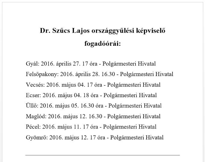Dr.Szűcs Lajos fogadóórái